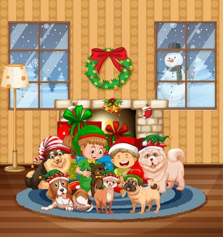 Christmas indoor scene with many children and cute dogs