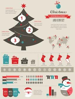 Рождественский инфографический набор с диаграммами и элементами данных