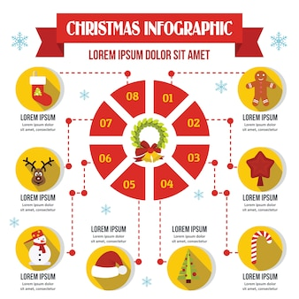 Christmas infographic template, flat style