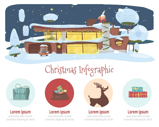 Christmas infographics cartoon vector banner
