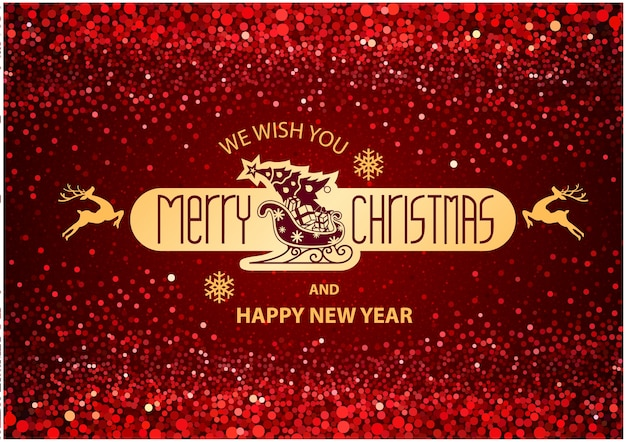 Christmas inscription on red background with glitter texture