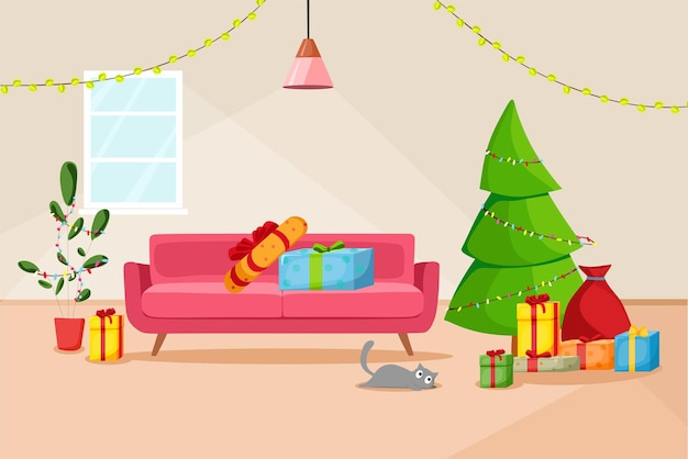 Christmas interior of the living room with a christmas tree and gifts. vector cartoon illustration