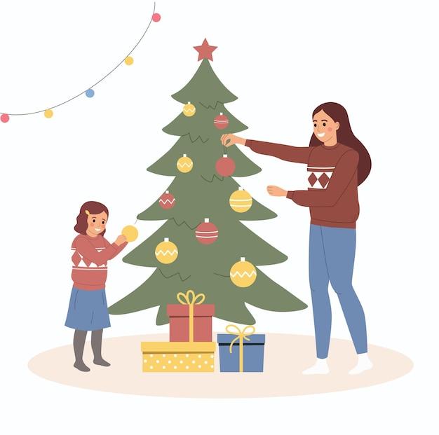 크리스마스 인테리어입니다. 엄마와 딸이 크리스마스 트리 근처에 서서 장식하고 있습니다. 벡터 평면 스타일 만화 일러스트 레이 션
