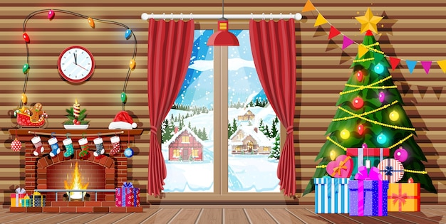나무와 방의 크리스마스 인테리어