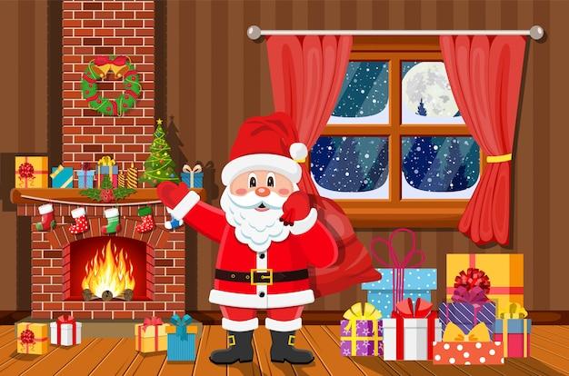 Рождественский интерьер комнаты