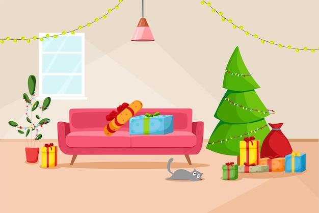 クリスマスツリーとギフトのあるリビングルームのクリスマスインテリア。ベクトル漫画イラスト