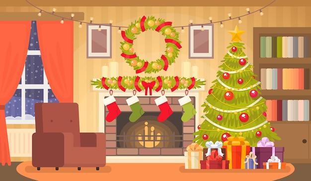 크리스마스 트리가있는 거실의 크리스마스 인테리어