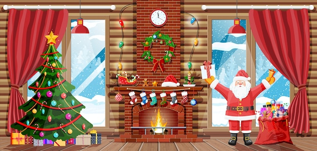 Christmas interior of room with santa claus