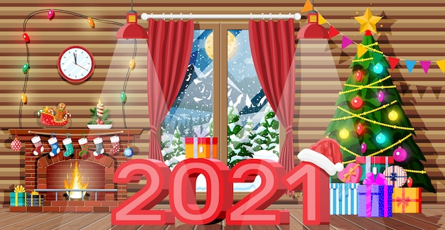 Christmas interior of room with tree and decorated fireplace