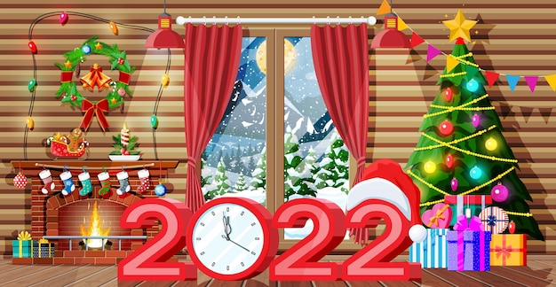 Christmas interior of room with tree, window, gifts and decorated fireplace. happy new year decoration. merry christmas holiday. new year and xmas celebration. vector illustration flat style