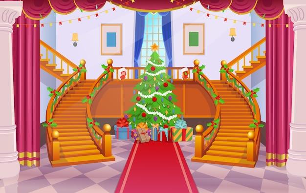 Рождественский интерьер с лестницей и елкой.
