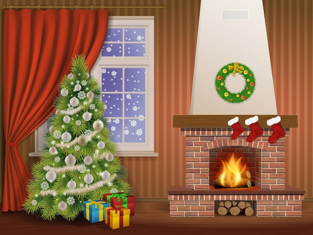 Christmas interior with fireplace and pine tree, decorated christmas balls and wreath. illustration.