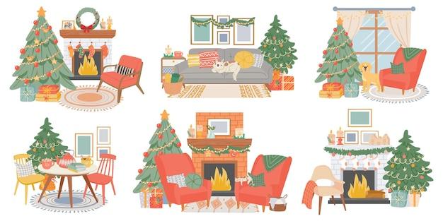 Рождественские интерьеры. новогодний оформленный зал с сосной, камином, уютными креслами, кошкой и собакой. домашний зимний праздник атмосфера векторный набор. интерьер камина иллюстрации, настоящее традиционное