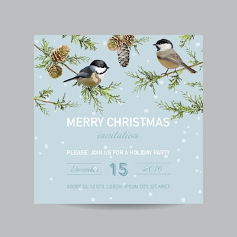 Christmas invitation card - winter birds in watercolor style