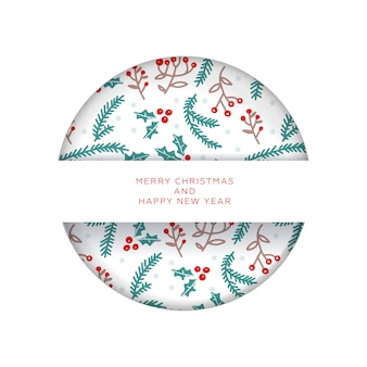 Christmas invitation or greeting card in paper cut style. merry christmas and new year. pattern with branches and berries.