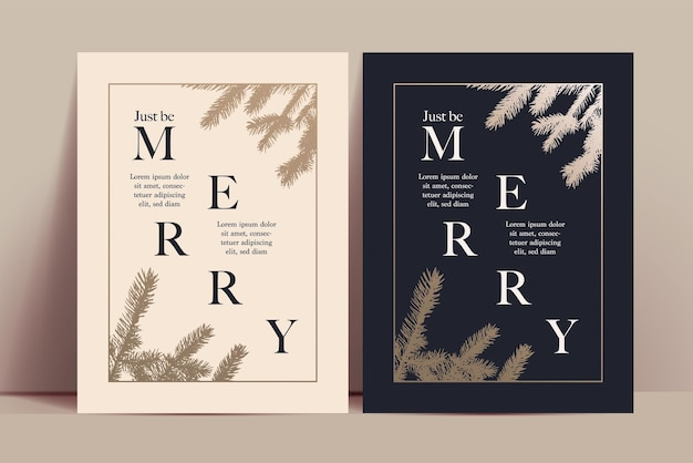 Christmas invitation or greeting card template with trendy minimalistic typographic composition and golden frame and christmas tree branch