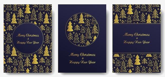 クリスマスの招待状または年末年始の森のポストカードトウヒの木の冬のデザイン