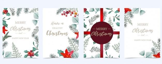 Christmas invitation set with holly leaves