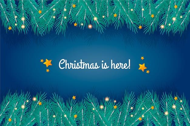Рождество здесь с нарисованными ветвями деревьев