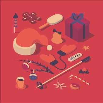 Рождество, изометрическая концепция иллюстрации, 3d значок набор
