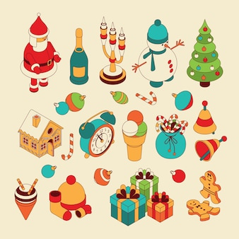Christmas isometric cute toys. funny santa and showmans. candelabrum and gingerbread house