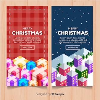クリスマスアイソメトリック要素バナー