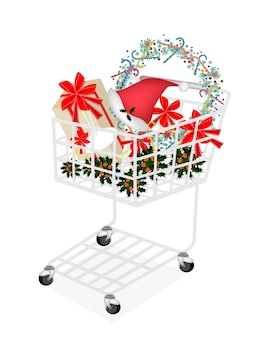 Christmas item and gift box in shopping cart