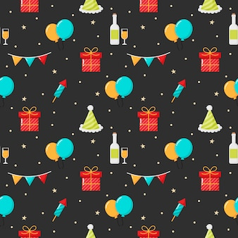 Christmas items on black background