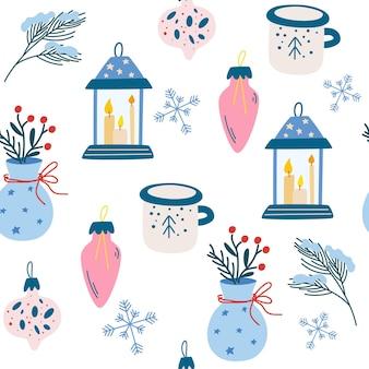 크리스마스 항목 완벽 한 패턴입니다. 전나무 잔가지 손전등 촛불 장난감 공 및 찻잔. 휘게 컨셉. 초대장, 인사말 카드, 벽지 및 선물 용지에 적합합니다. 벡터 일러스트 레이 션.