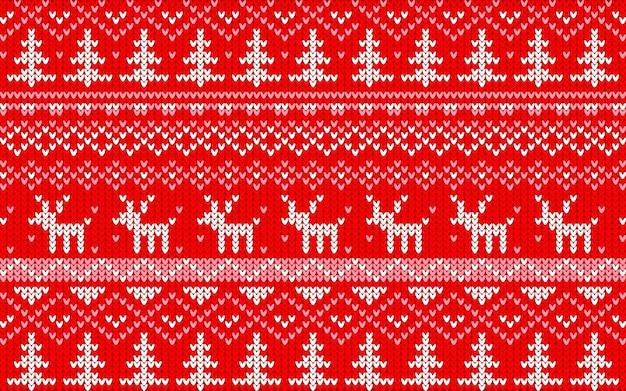 クリスマスジャカードパターン赤と白