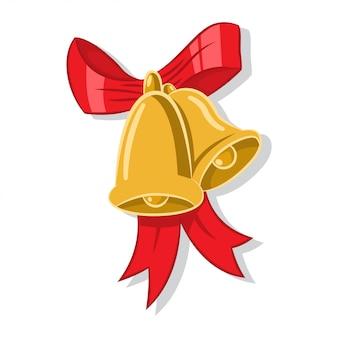 Рождественские звон золотых колокольчиков с красным бантом.