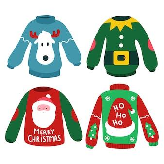 トナカイ、エルフ、サンタの頭、帽子が白い背景に設定されたクリスマスジャンパー。