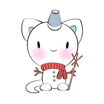 Рождественский каваи кот снеговик веселый и яркий вектор наклейка для мессенджера