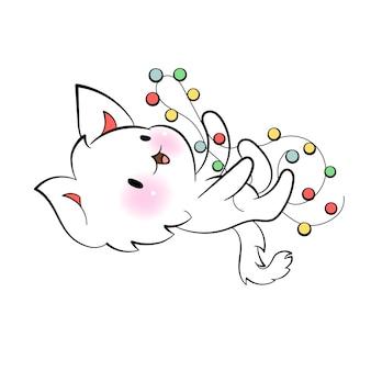 Рождественский кавайный кот с новогодними огнями, праздничное настроение, векторная наклейка для мессенджера