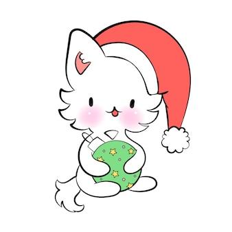 Рождественский кавайный кот с игрушечным сезоном поздравления вектор наклейка для мессенджера