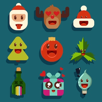 Christmas kawaii characters with different emotions. santa claus, reindeer, bottle of champagne