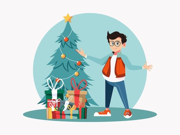 Christmas kid with christmas tree and present box