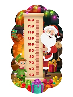 Christmas kids height chart, santa and elf with gifts growth measure meter. vector ruler scale of children stadiometer on paper scroll with cartoon claus, xmas lights and presents, fireplace, stocking