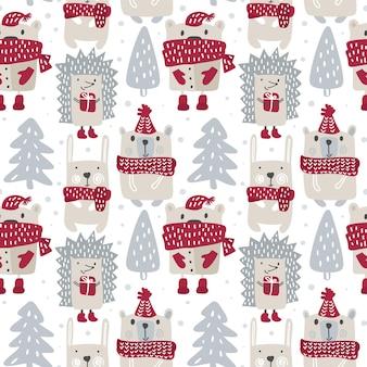 간단한 만화 스칸디나비아 스타일의 귀여운 곰과 겨울 고슴도치, 토끼와 함께 크리스마스 어린이 원활한 패턴