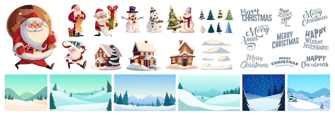 Christmas kit for creating postcards or posters