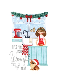 Christmas kitchen cooking watercolor illustration lettering handwritten on white background