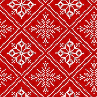 Christmas knit geometric ornament. knitted textured seamless pattern