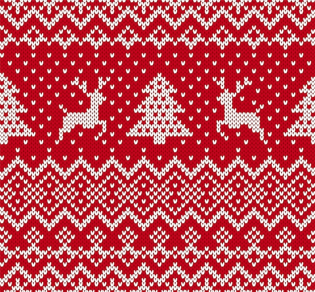 Christmas knit geometric ornament with elks and christmas trees in red and white color.knitted seamless pattern.