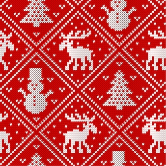 Christmas knit geometric ornament with elks, christmas trees and snowmen. knitted textured background.
