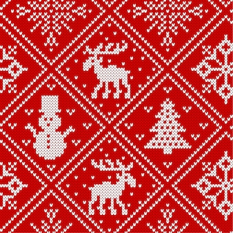 Christmas knit geometric ornament with moose and christmas trees. knitted textured background. knitted pattern for a sweater