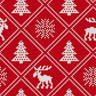 Christmas knit geometric ornament with moose and christmas trees.
