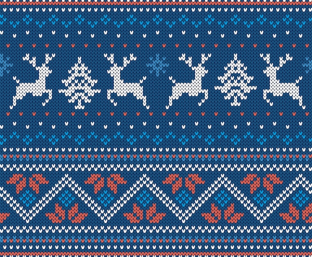 Christmas knit geometric ornament with moose. knitted pattern for a sweater