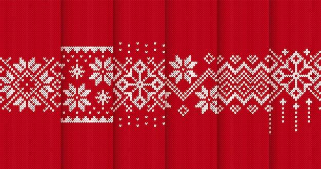 クリスマスニットパターン。赤いクリスマスのシームレスな背景。