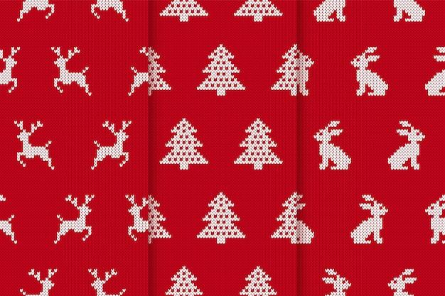 Рождественские вязаные узоры. бесшовные фоны с деревьями, оленями, кроликами. рождественские праздничные принты
