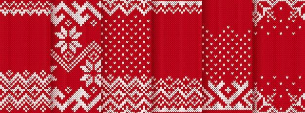 Рождественские вяжем красные принты. бесшовные модели. векторная иллюстрация.